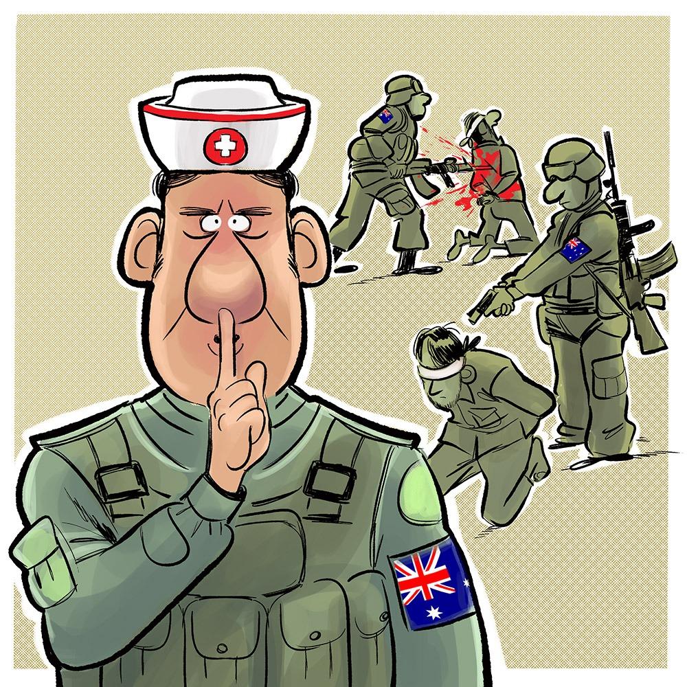 جنایات جنگی عساکر آسترالیایی - کاریکاتور/ سکوت مرگبار مجامع جهانی در برابر جنایات جنگی عساکر آسترالیایی