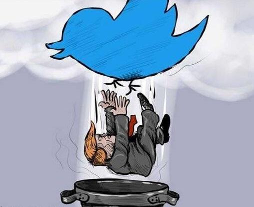 ترمپ تویتر - کاریکاتور/ پاسخ تویتر به تخلفات ترمپ!