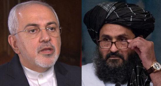 ملا برادر جواد ظریف 550x295 - دیدار معاون سیاسی طالبان با وزیر امور خارجه ایران