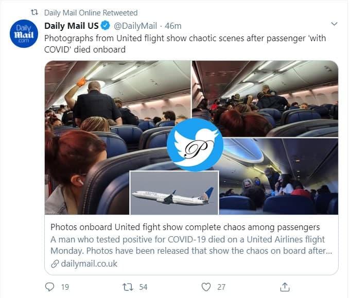 کرونا طیاره - وحشت مسافران طیاره پس ار مرگ یک مسافر کرونایی + عکس