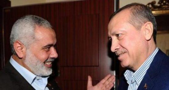 اسماعیل هنیه رجب طیب اردوغان 550x295 - درخواست رهبر گروه حماس از رییس جمهور ترکیه