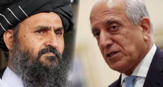 زلمی خلیلزاد ملا برادر 550x295 - جزییات دیدار زلمی خلیلزاد با ملا برادر از زبان سخنگوی دفتر سیاسی گروه طالبان