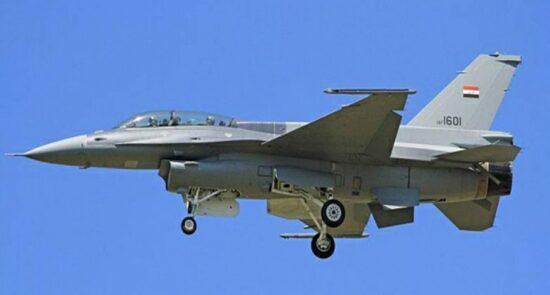 عراق طیاره جنگی 550x295 - حمله هوایی طیارات جنگی عراق بالای مواضع داعش در ولایات دیاله و نینوا