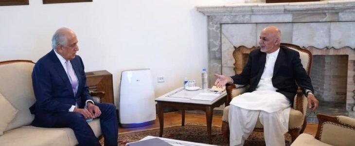 اشرف غنی زلمی خلیلزاد - پروسۀ صلح؛ محور گفتگوی رییس جمهور غنی با داکتر زلمی خلیلزاد