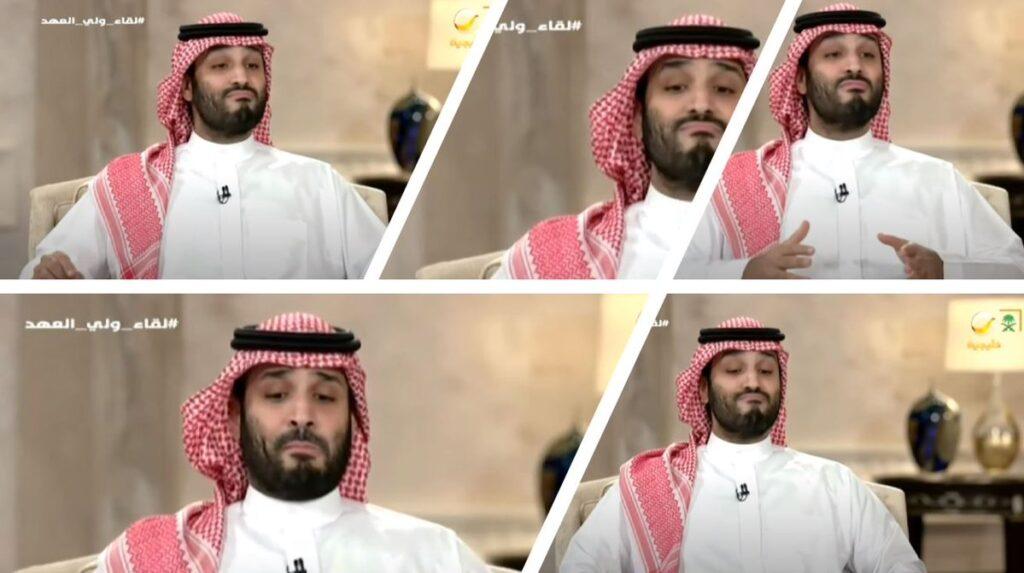 محمد بن سلمان 1024x573 - تصویر/ حرکات عجیب ولیعهد عربستان سعودی در مصاحبه زنده تلویزیونی