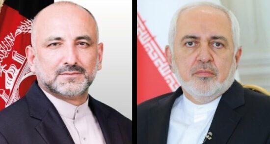 محمد حنیف اتمر محمد جواد ظریف 550x295 - گفتگوی تیلفونی وزیر امور خارجه کشورمان با همتای ایرانی اش