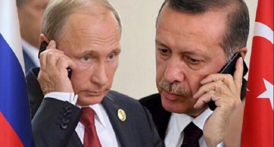 پوتین اردوغان 550x295 - گفتگوی تلیفونی روسای جمهور ترکیه و روسیه