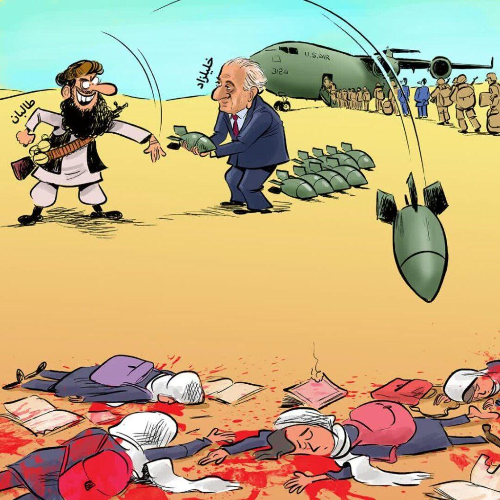 امریکا طالبان نسل کشی کابل 1024x1024 - کاریکاتور/ نقش پر رنگ خارجی ها در نسل کشی یک قوم در غرب کابل