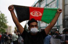 محکومیت حمله تروریستی بر مکتب سیدالشهداء کابل در مقابل سفارت افغانستان در ایران + تصاویر