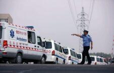 چین امبولانس 226x145 - مرگ دست کم ۲۰ ورزشکار در رقابت دوش در کوههای شمالغرب چین