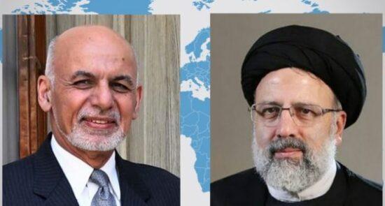 اشرف غنی ابراهیم رئیسی 550x295 - گفتگوی تیلفونی رئیس جمهور غنی با رئیس جمهور منتخب ایران