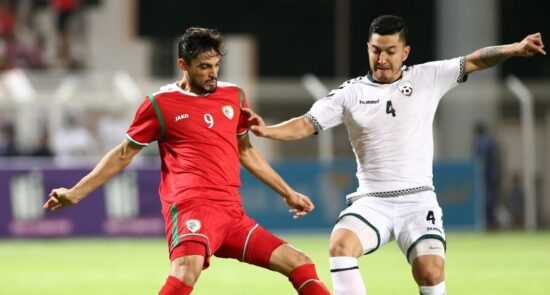 افغانستان عمان 550x295 - شکست تیم ملی فوتبال افغانستان در برابر عمان