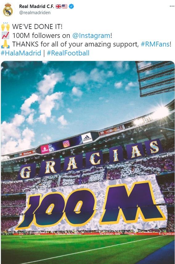 ریال مادرید انستاگرام - ریکورد فوق العاده باشگاه ریال مادرید در فضای مجازی
