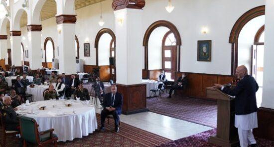 اشرف غنی نیروهای امنیتی و دفاعی 1 550x295 - دیدار رییس جمهور غنی با متقاعدین نیروهای امنیتی و دفاعی کشور
