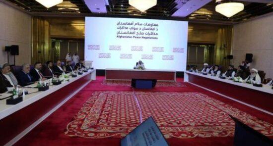 نشست قطر 550x295 - اعلامیه مشترک رهبری شورای عالی مصالحه ملی با نماینده گان طالبان در قطر