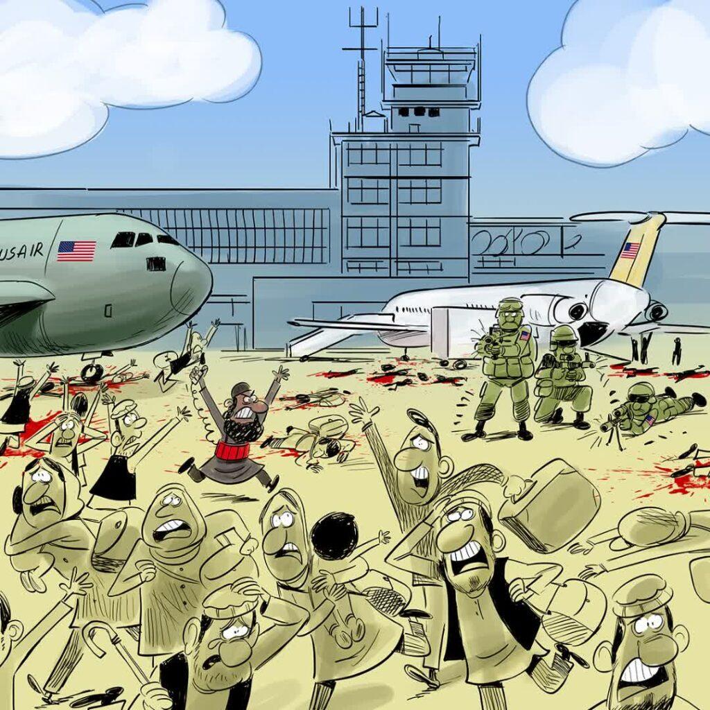 جنایت میدان هوایی کابل 1024x1024 - کاریکاتور/ جنایت تکان دهنده خارجی ها در میدان هوایی کابل