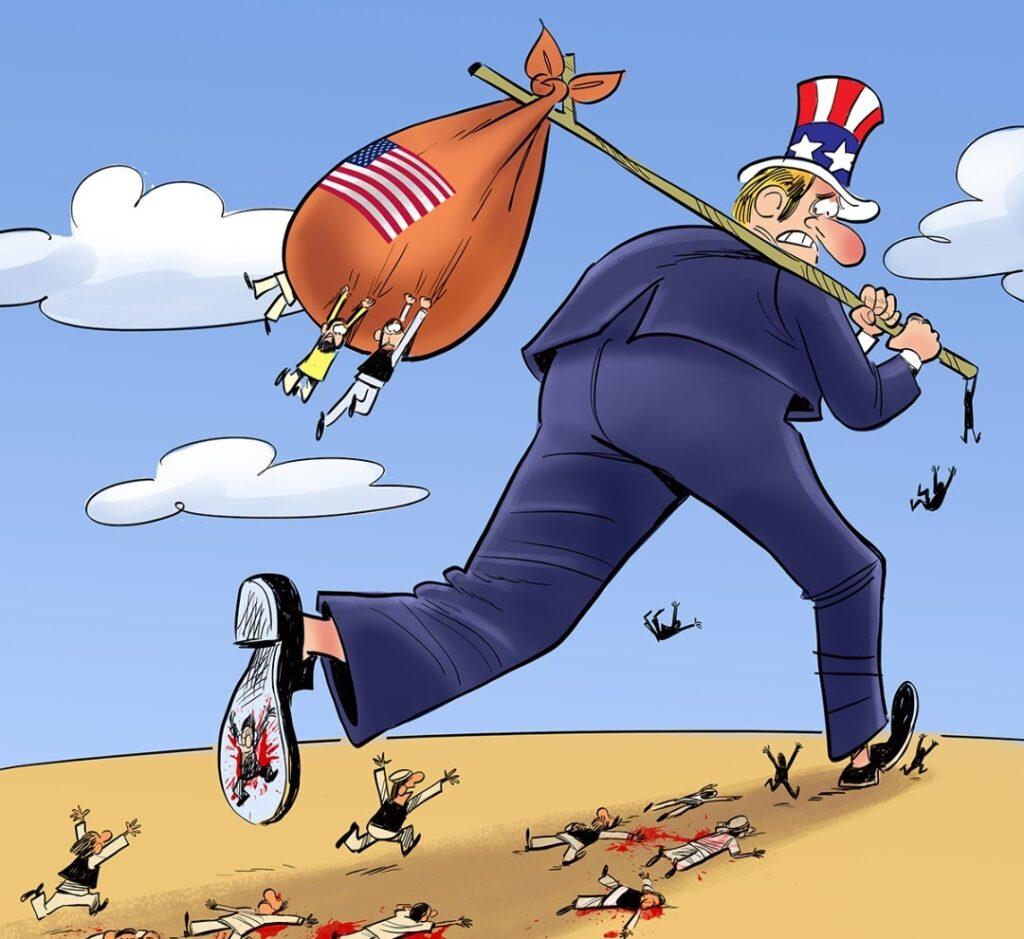 فرار امریکا 1024x939 - کاریکاتور/ عاقبت اعتماد به خارجی ها