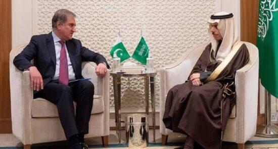 فیصل بن فرحان شاه محمود قریشی 550x295 - طالبان، محور اصلی گفتگوی وزیر امور خارجه عربستان و همتای پاکستانی اش