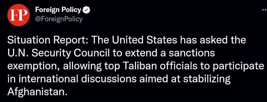 فارین پالیسی  - تصویر/ درخواست ایالات متحده برای معافیت طالبان از تحریم های سازمان ملل!