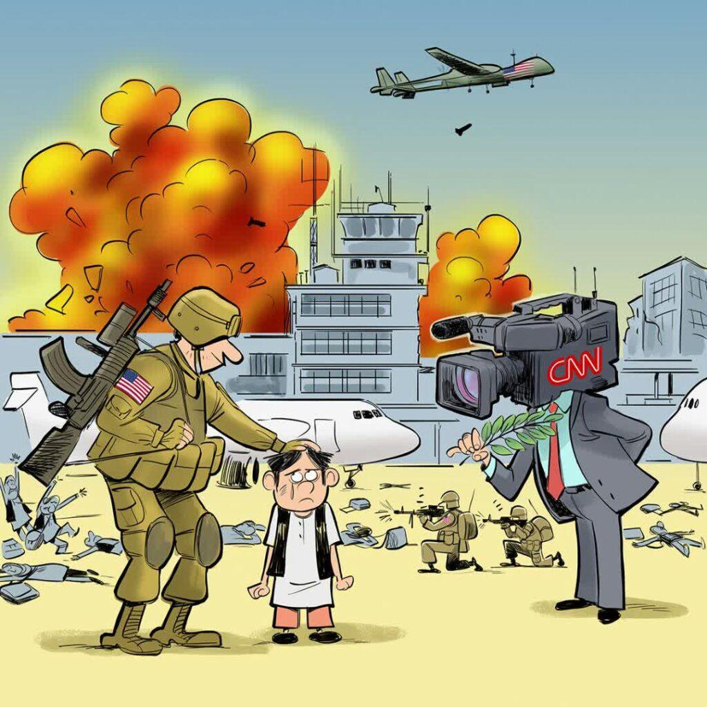 قاتل اطفال افغان 1024x1024 - کاریکاتور/ خارجی ها؛ حامی یا قاتل اطفال افغان؟
